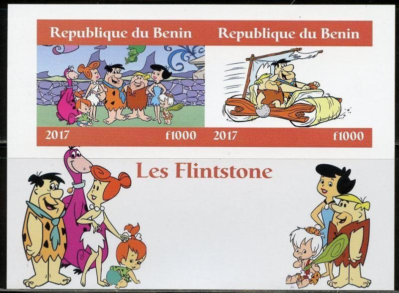 BENIN 2017  THE FLINTSTONES SET OF TWO IMPERFORATE SHEETS OF  TWO  MINT NH