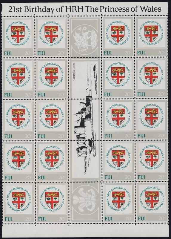 Fiji 470-3 Gutter strips of 20 MNH Princess Diana 21st