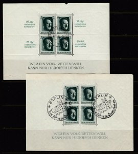 Germany Souvenir Sheet Group - 3 sheets of 4 with AH (USED)