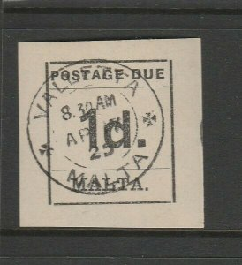 Malta 1925 Postage Due 1d cds Used SG D2