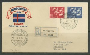 ICELAND SCOTT# 298-299 NORTHERN CONTRIES REGISTERED FDC TO WISCONSIN AS SHOWN