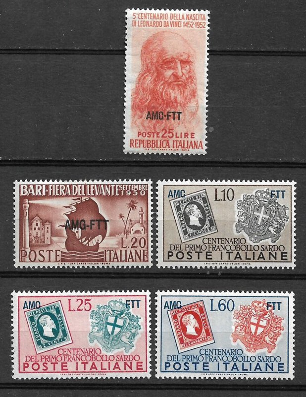COLLECTION LOT #442 TRIESTE 5 STAMPS MNH 1950+