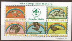MONGOLIA SGMS2950b 2001 SCOUTING/NATURE   SHEETLET MNH