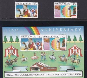 Norfolk Island # 371-372 & 372a, Agriculture & Horticulture Show, NH, 1/2 Cat.