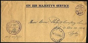 FIJI 1947 OHMS cover OFFICIAL PAID ex Western High Commission to Sydney....95579