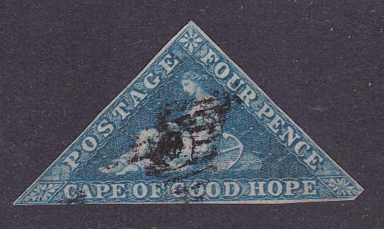 Cape Of Good Hope 1855 S.G./Scott Number 4. 4d blue Fine/VF/(o) Nice Margins