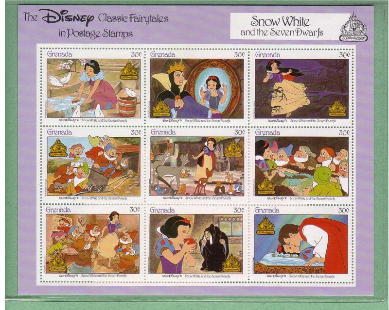 Disney - Grenada -1987 - Snow White - Sheetlet