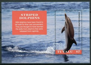 Tuvalu 2019 MNH Striped Dolphins 1v S/S Mammals Marine Animals Stamps