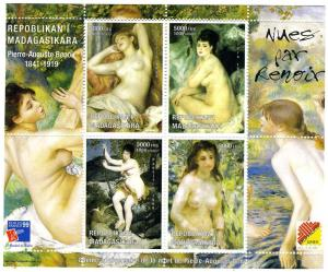 Malagasy 1999 Renoir NUDES Paintings Sheet (4) Perforated Mint (NH)