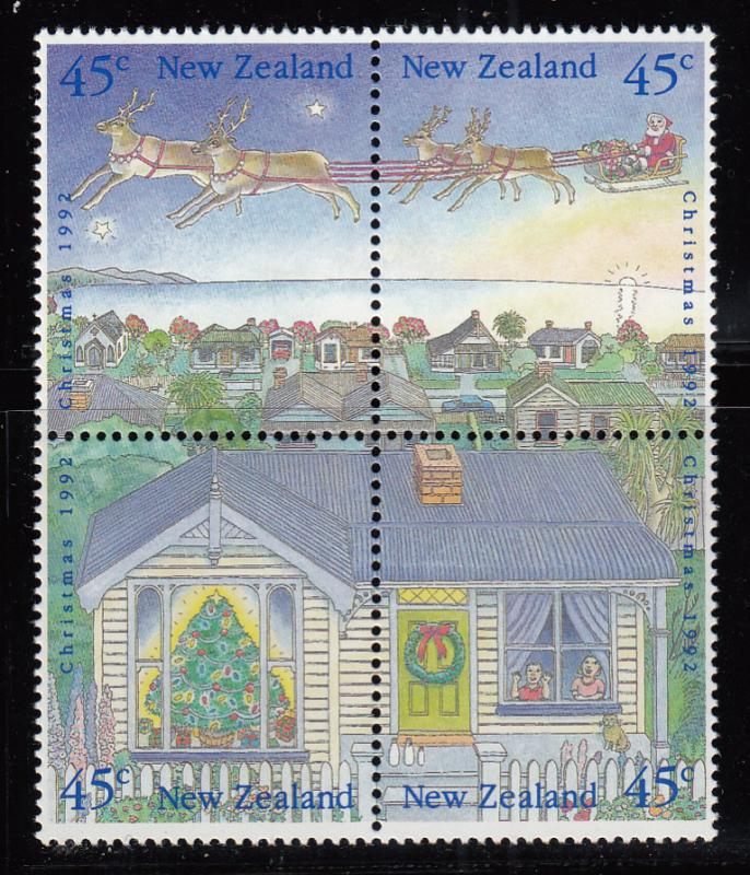 New Zealand 1992 MNH Scott #1126-#1132 Christmas Block of 4, 3 singles