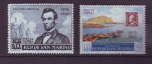 J21978 Jlstamps 1959 san marino sets of 1 mh #c108, c110 designs