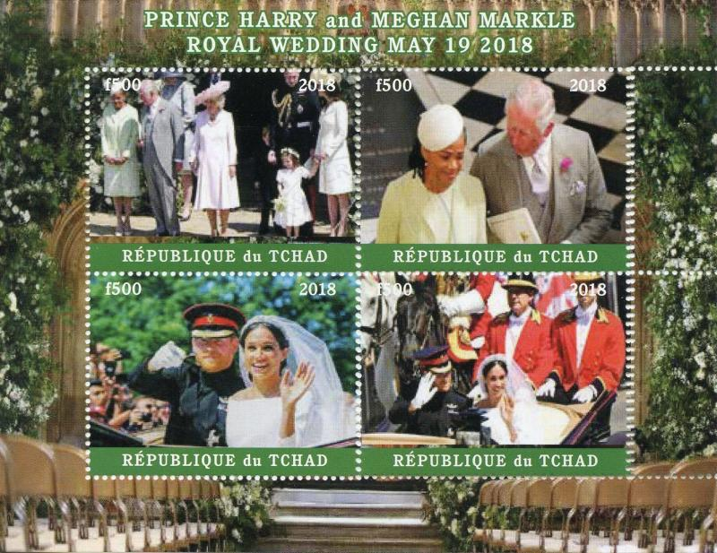 Royal Wedding Cancelled.Chad 2018 Cto Prince Harry Meghan Royal Wedding 4v M S I Royalty