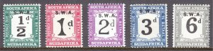 South West Africa - Scott #J81-J85 - MH - A few with disturbed gum - SCV $6.45