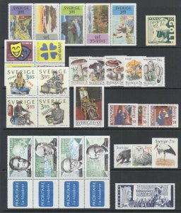 Sweden Sc 2176/2216 MNH. 1996-97 issues, 10 complete sets, fresh. bright, VF.