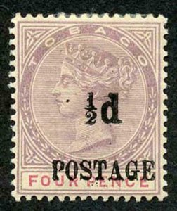 Tobago SG33 1/2d on 4d lilac and carmine M/Mint (hinge remainder)