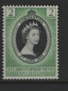 ST. KITTS-NEVIS 119 Hinged, 1953 Coronation Issue