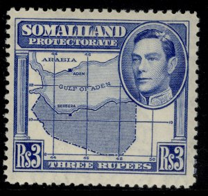 SOMALILAND PROTECTORATE GVI SG103, 3r bright blue, M MINT. Cat £25.