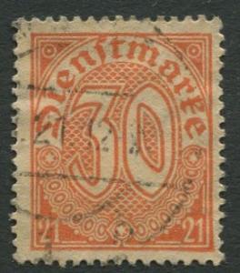 GERMANY. -Scott O6 - Officials -1920 - VFU - Single 30pf Stamp