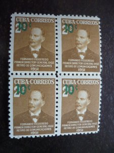 Stamps- Cuba-Scott# 474 - Mint Hinged Block of 4 Stamps Surcharged