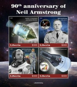 2020- LIBERIA - SPACE  NEIL ARMSTRONG      4V    MNH **
