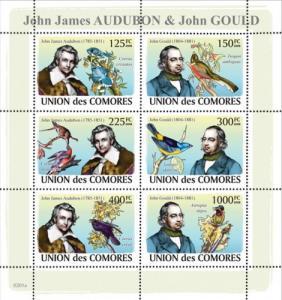 COMORES 2008 SHEET JAMES AUDUBON JOHN GOULD BIRDS OISEAUX NATURALISTS cm8201a