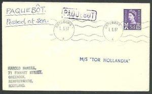 GB SWEDEN 1967 cover GB 2d GOTEBORG PAQUEBOT, MS Tor Hollandia ship mark...59069