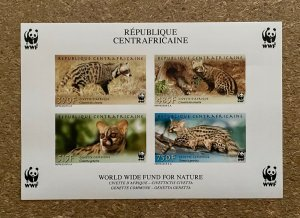 Stamps Minisheet WWF Savages Animals Civet Central Africa 2007 Imperf.