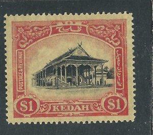 KEDAH 1921-32 $1 BLACK & RED/YELLOW MM SG 37 CAT £80