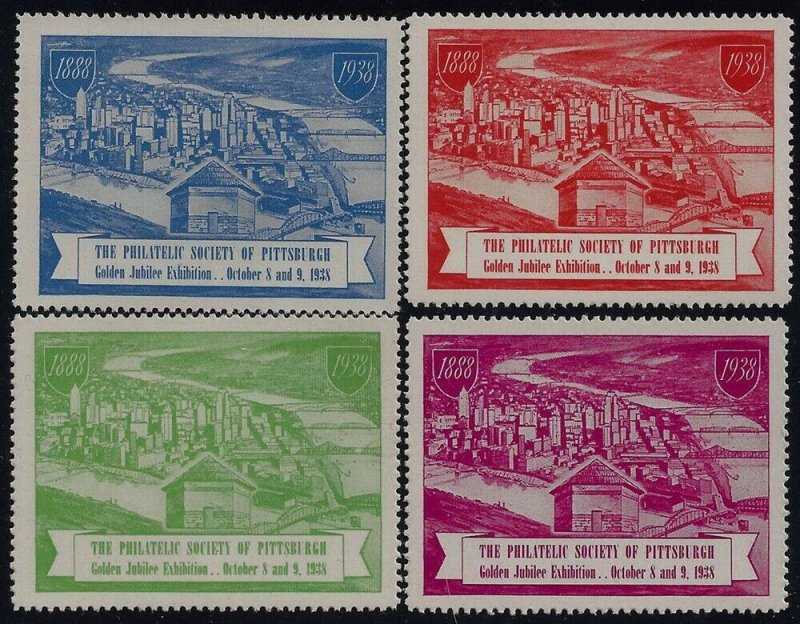 1938 The Philatelic Society of Pittsburgh Cinderella Poster Stamps Set of 4 MNH