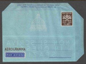 ITALY VATICAN CITY L80 AEROGRAMMA (BROWN) €125 MINT PRISTINE SCARCE
