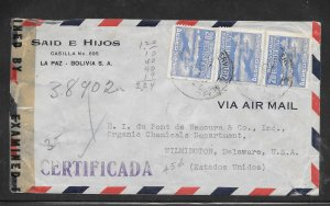 Just Fun Cover Bolivia #283,C81,C83 on Registered Cover NOV/10/1944 (my4693)