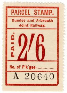(I.B) Dundee & Arbroath Joint Railway : Parcel Stamp 2/6d