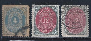 DENMARK #26C,29,29A USED  SCV $28.00 STARTS @25% OF CATVALUE