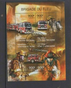 CENTRAL AFRICAN REPUBLIC 2013 FIRE FIGHTER MINT VF NH O.G S/S CTO (6CA)