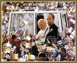 Turkmenistan 1998 Pope John Paul II & Fidel Castro s/s perforated mnh.vf
