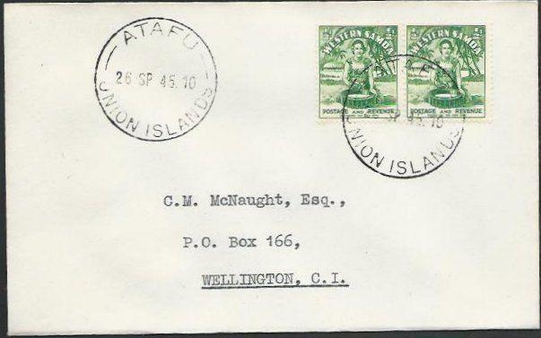 TOKELAU IS 1945 cover ATAFU / UNION ISLANDS cds,...................... ....11505