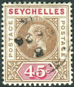 SEYCHELLES-1913 45c Brown & Carmine.  A fine used example Sg 78