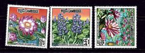 Cambodia 231-33 MNH 1970 Flowers