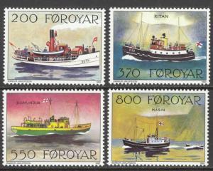 Faroe Islands Sc# 232-235 MNH 1992 200o-800o Mail Boats