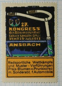 Congress Of The General Cyclists Union Ansbach German Brand Poster Stamp Ads
