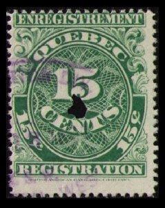 QUEBEC REVENUE TAX 1912 RARE VINTAGE 15c #QR18 1st ISSUE PERF 12x12 FINE CAT $8