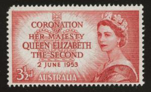 AUSTRALIA Scott 259 MH* 1953 QE2 Coronation
