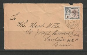 Gambia 1956 Internal Letter to Basse, 1 1/2d QE2 Def, TPO RIVER GAMBIA cds