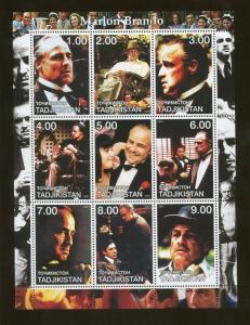 Tajikistan Commemorative Souvenir Stamp Sheet - Actor Marlon Brando