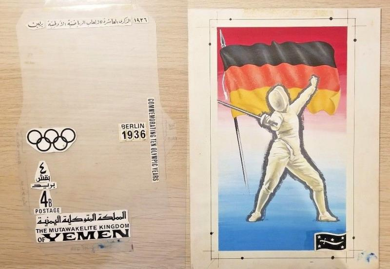 C) 1936 GERMANY, COMMEMORATING TEN OLYMPIC YEARS, FENCING, YEMEN KINGDOM ART WOR