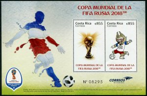 HERRICKSTAMP NEW ISSUES COSTA RICA Sc.# 697 Russia 2018 World Cup Soccer S/S