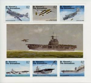 St Vincent & Grenadines 1995 MNH WWII WW2 VJ Day World War II 6v MS Ships Stamps