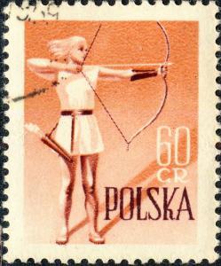 POLOGNE / POLAND - 1959 - Mi1087 60gr Archery - Sport Set - CTO