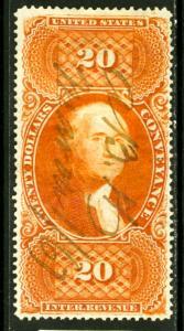 US Stamps # R98c $20 Revenue XF USED Choice Scott Value $300.00