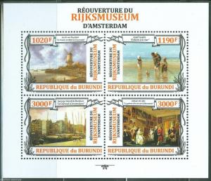 BURUNDI  2013 REOPENING OF THE RIJKSMUSEUM  PAINTINGS SHEET  MINT NH